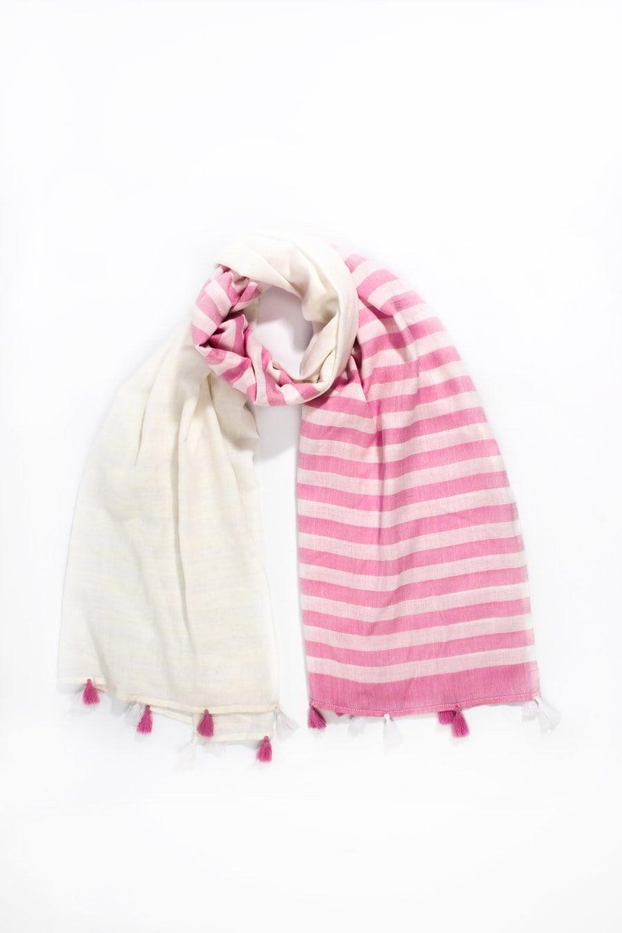 Cream & Pink Stripe Scarf