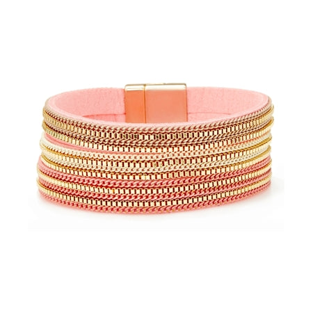 Coral/Gold Magnetic Clasp Bracelet