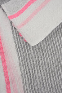 Grey & Neon Pink Striped Scarf
