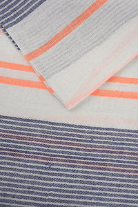 Denim Blue/Orange Striped Scarf
