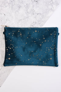 Velvet Teal Clutch Bag with Gold Stars