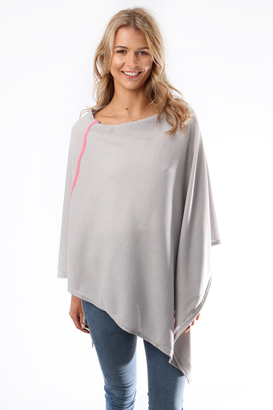 Gorgeous Grey Poncho With Neon Pink Stripe