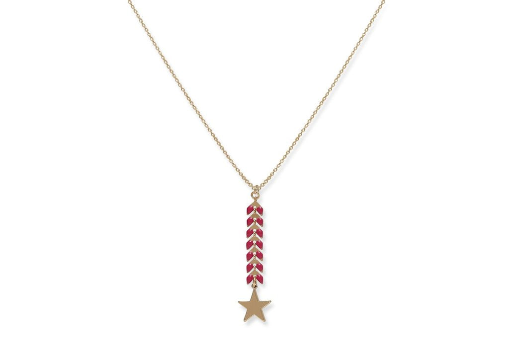 Leaf Chain Pink Necklace With Gold Star