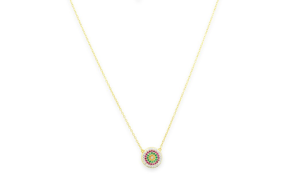 Gold Plated Hallmarked Rainbow Disk Necklace