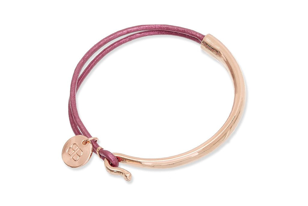 Rose Gold Leather Bangle