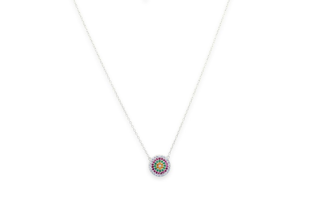 Silver Hallmarked Rainbow Disk Necklace