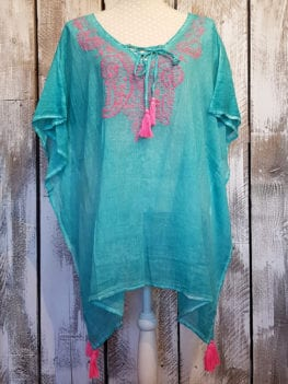 Cotton Turquoise Kaftan with Neon Pink Embroidery