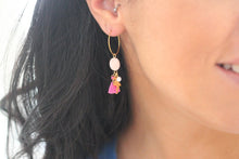 Rose Gold Hoop Flamingo Earrings
