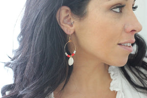 Red Hoop Shell Earrings