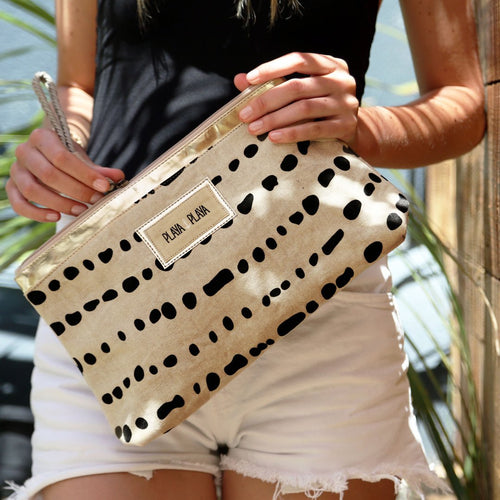Camel & Black Clutch Bag
