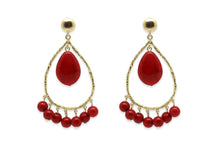 Red & Gold Tear Drop Earrings