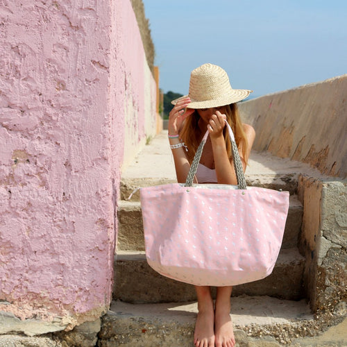 Pink with Silver Flamingos Beach Bag
