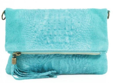 Snakeskin Detail Leather Clutch Bag