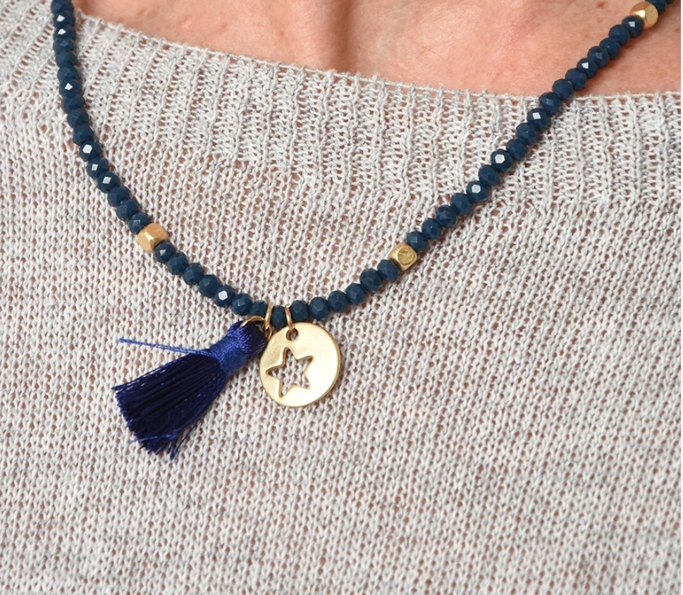 Navy/Gold Star Charm Necklace
