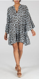 Ava Leopard Print Baby Blue Smock Dress