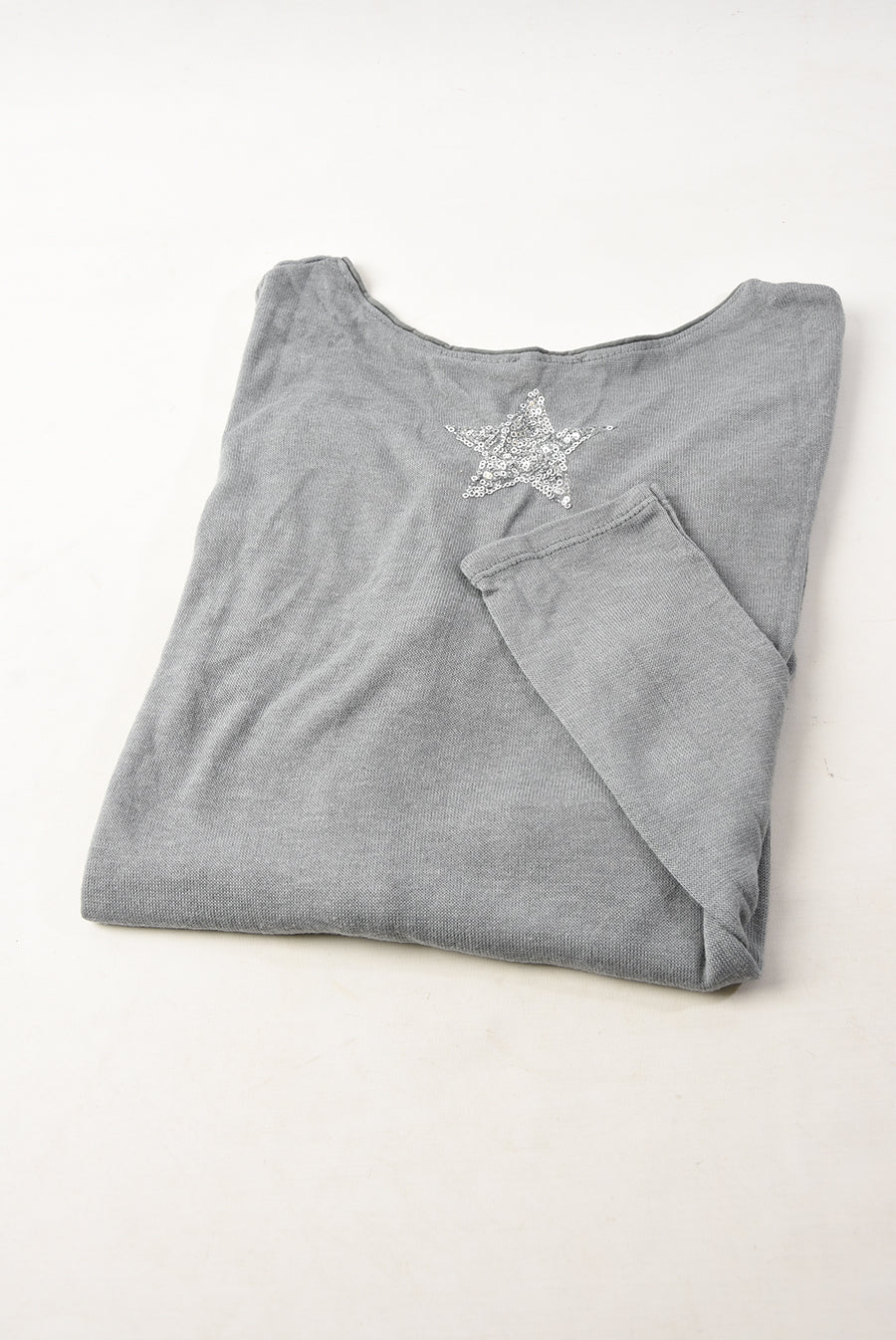 Grey Coloured Silver Sequined Star Top