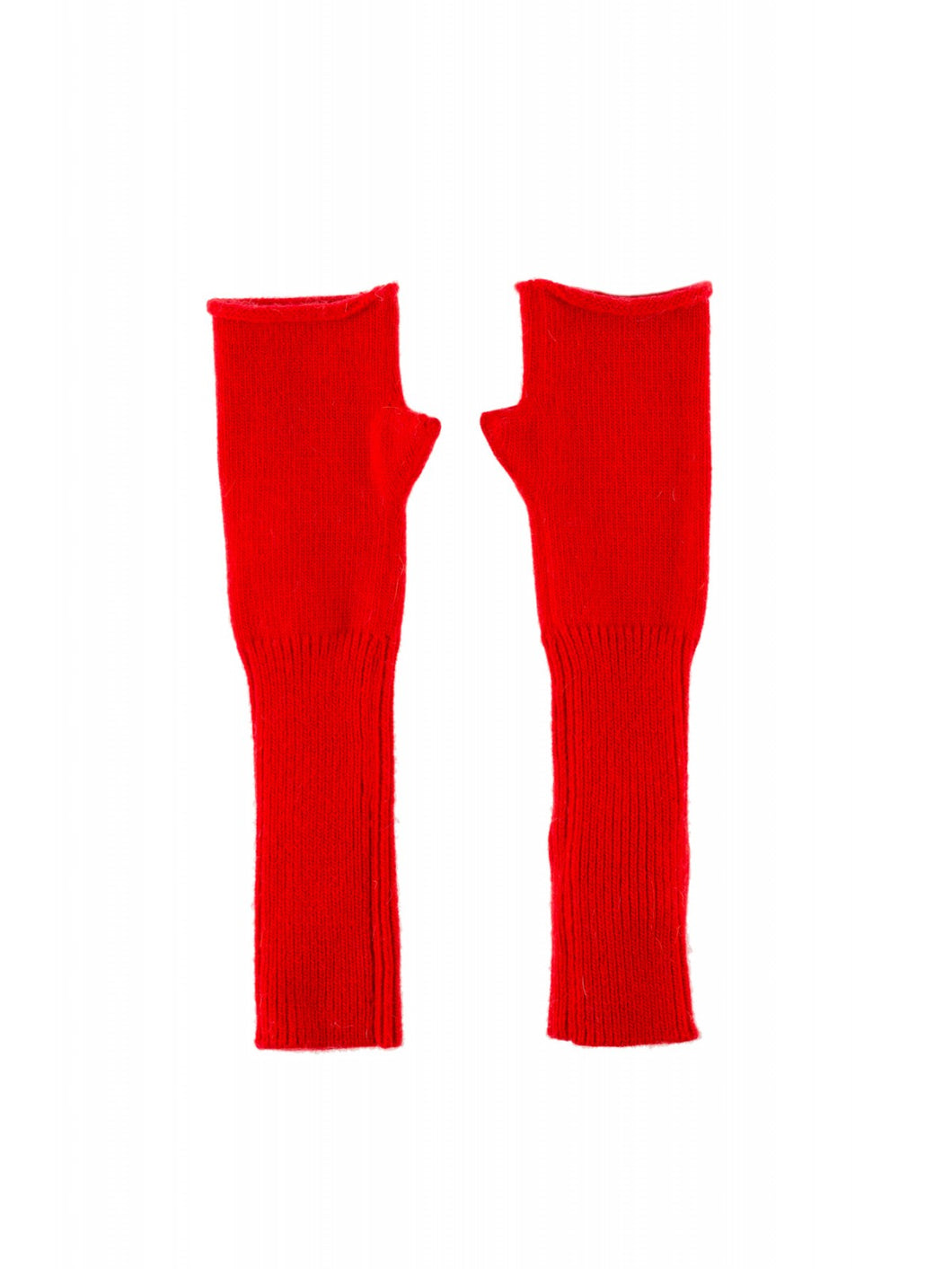 Cashmere Bright Red Fingerless Mittens