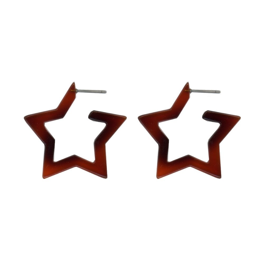 Tortoiseshell Resin Star Earrings