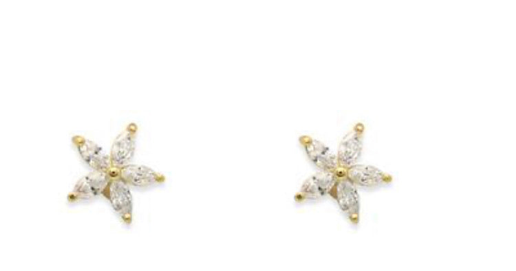 Sterling Silver Gold Plated Flower Studs