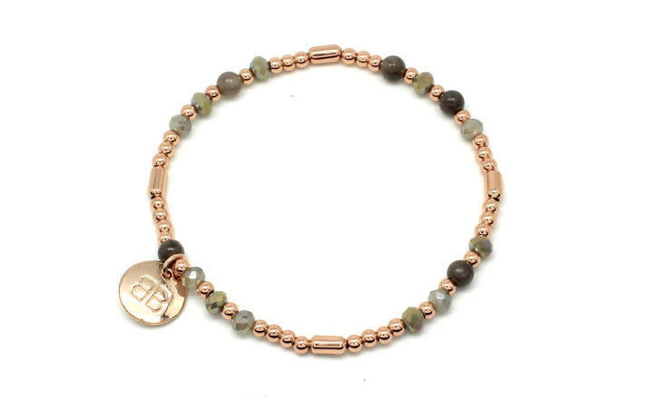 Rose Gold Jade Beaded Bracelet