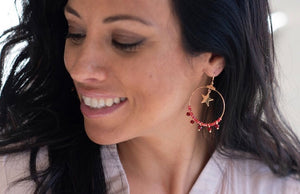 Gold & Red Hooped Earrings with Gold Star