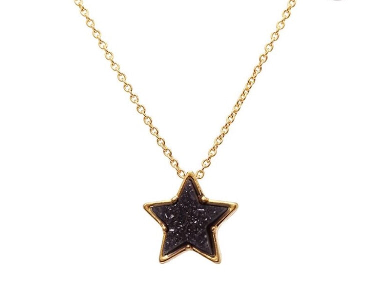 Navy Crystal Star Necklace