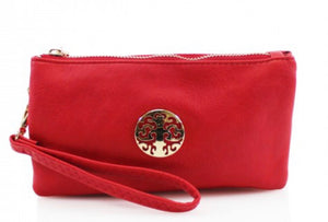 Red Wristlet Mini Clutch Bag