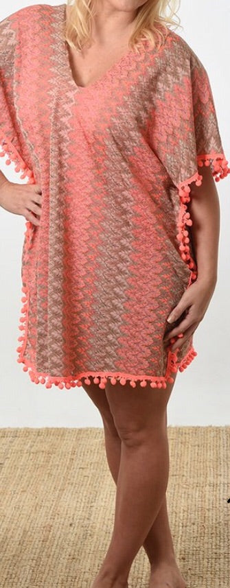 Pink Kaftan with Pom Trim