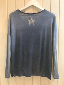 Blue denim Coloured Silver Sequin Star Top