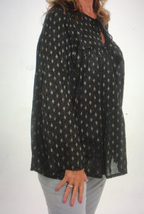 Black and Gold Smock Style Top