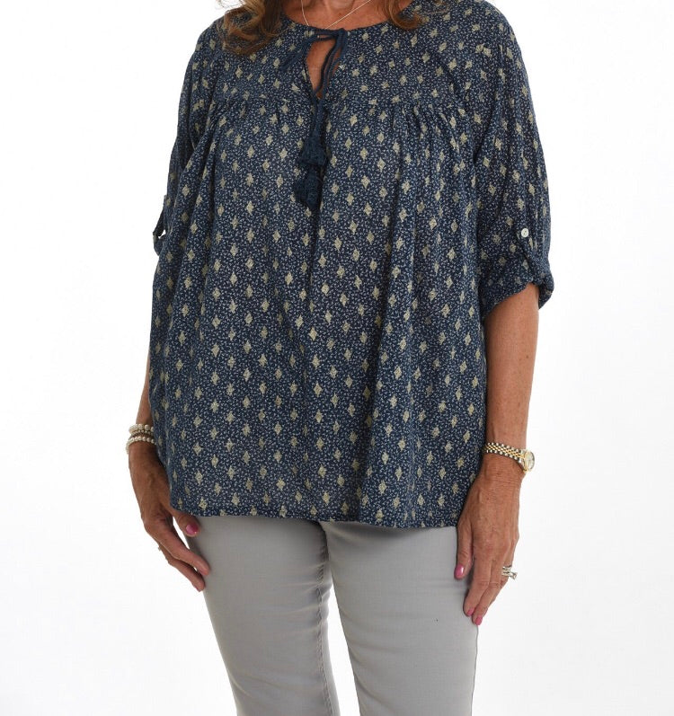 Navy and Gold Smock Style Top