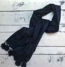 Cashmere Blend Navy Scarf With Real Fur PomPoms
