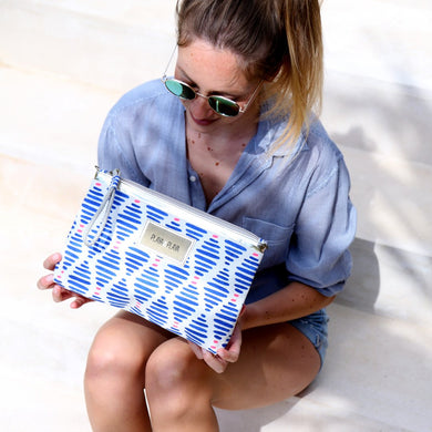 Neon Blue & Pink Clutch Bag