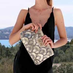 Grey & Metallic Gold Clutch Bag