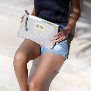 Light Grey and Neon Yellow Clutch Bag