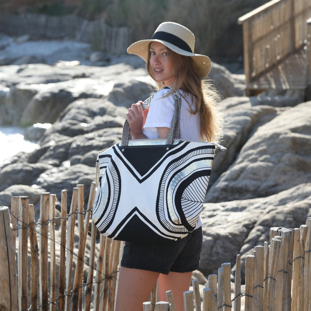 Gold,Black & White Beach Bag