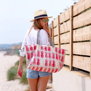 Coral Red & Gold Pineapple Beach Bag