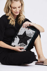 Navy Sequin Star Clutch Bag
