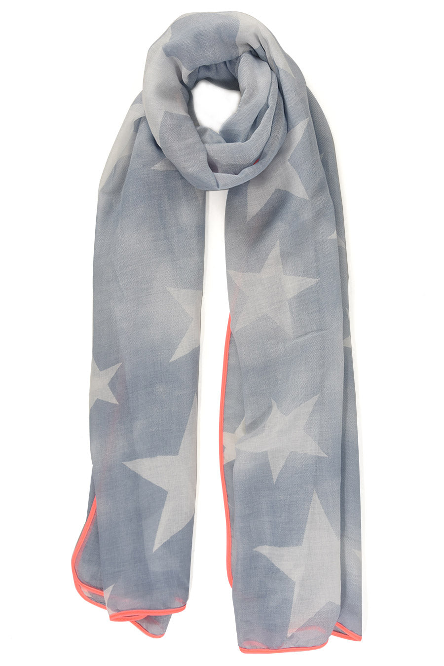 Denim Blue Scarf with White Stars & Neon Pink Trim