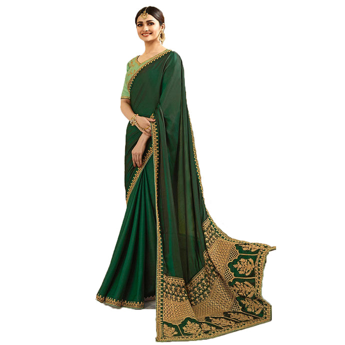 Georgette Printed Saree - (IFZ1117-A19_Green)