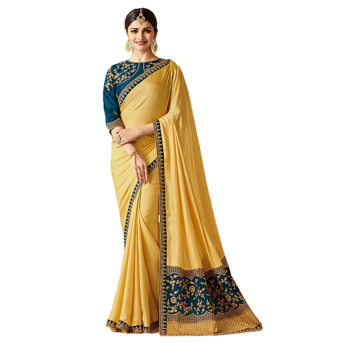 Georgette Printed Saree - (IFZ1121-A19_Yellow)