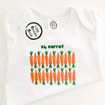 24 karat carrots gold funny pun organic cotton baby onesie toddler shirt