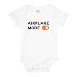 airplane mode toggle funny first trip travel organic cotton newborn baby onesie shower gift