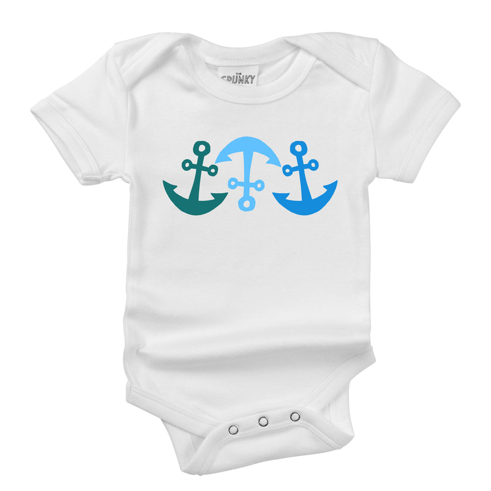 blue nautical anchor print organic cotton baby onesie toddler shirt