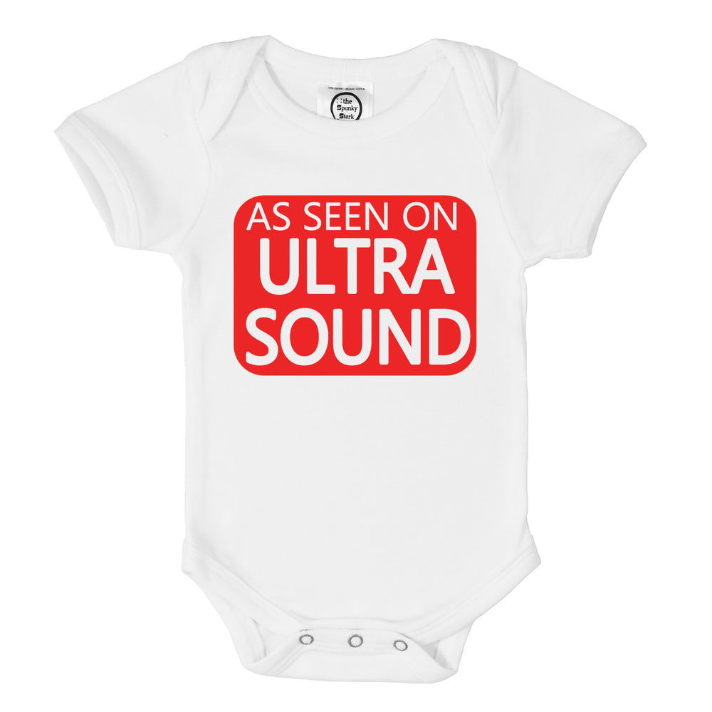 as seen on ultrasound funny organic cotton baby onesie newborn shower gift or pregnancy birth announcement