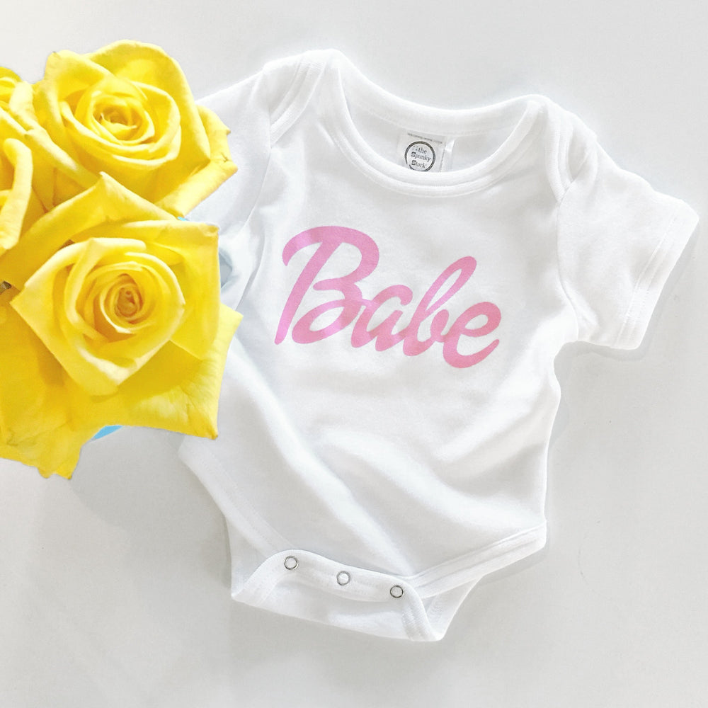 barbie pink font text cursive organic cotton baby girl onesie toddler graphic tee shirt