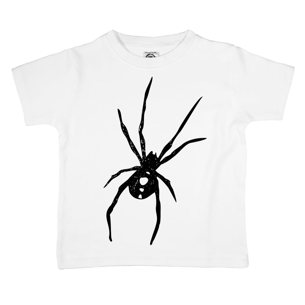 black widow spider halloween organic cotton creepy realistic baby onesie toddler graphic tee shirt