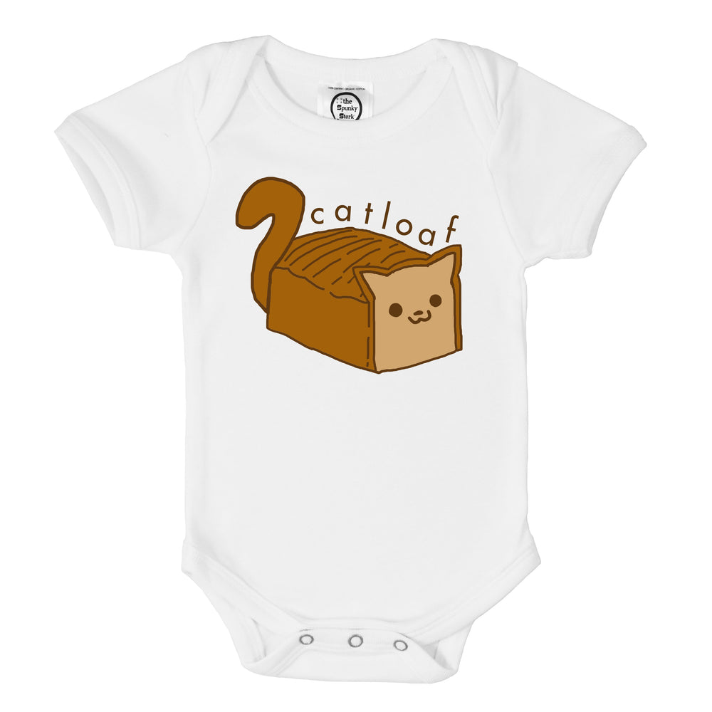 cat loaf bread funny blep lazy kitten organic cotton baby onesie toddler shirt