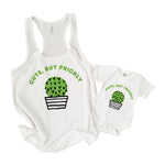 mother and daughter son matching mommy & me cactus funny tee shirts