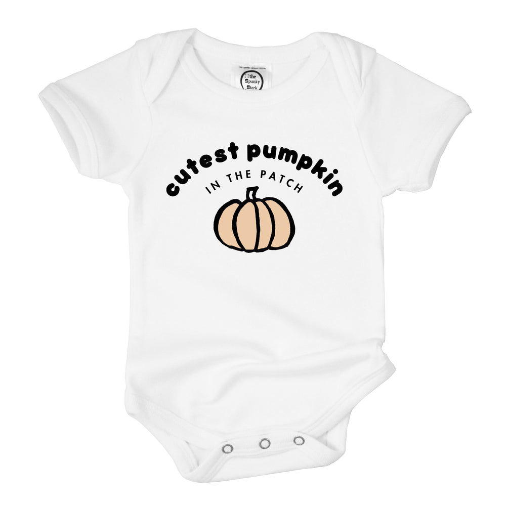 cutest pumpkin in the patch unisex organic cotton halloween baby onesie toddler graphic tee shirt